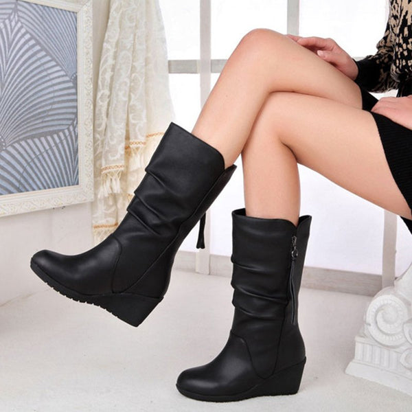 Comfy Wedge Heel Mid-Calf Zipper Women Boots