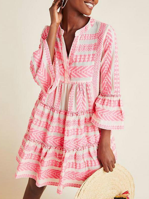 Pink Long Sleeve Cotton Dresses