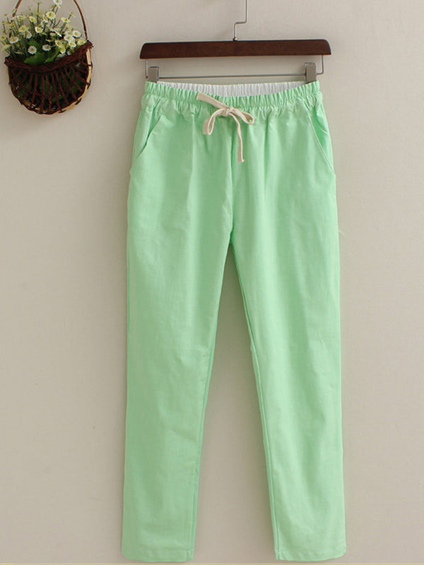 Candy Color Cotton Solid Pants