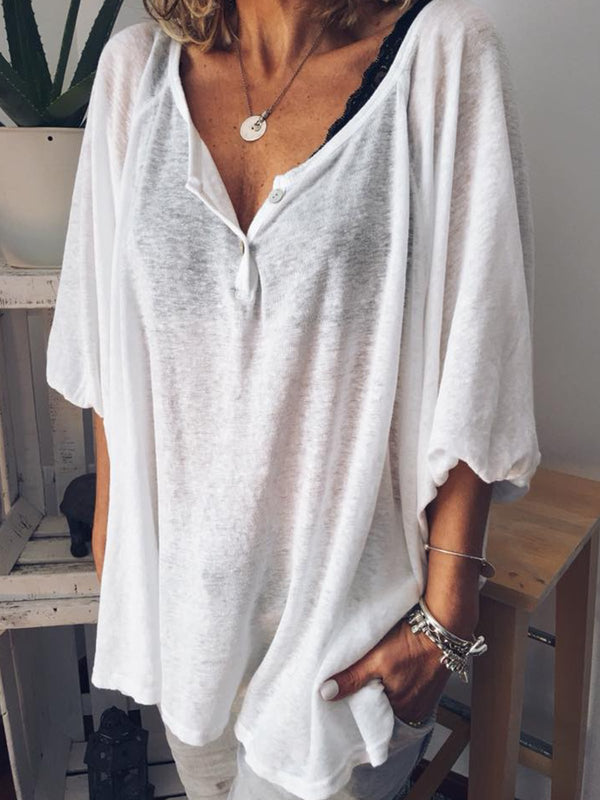 Plus Size V Neck Half Sleeve Plain Blouse