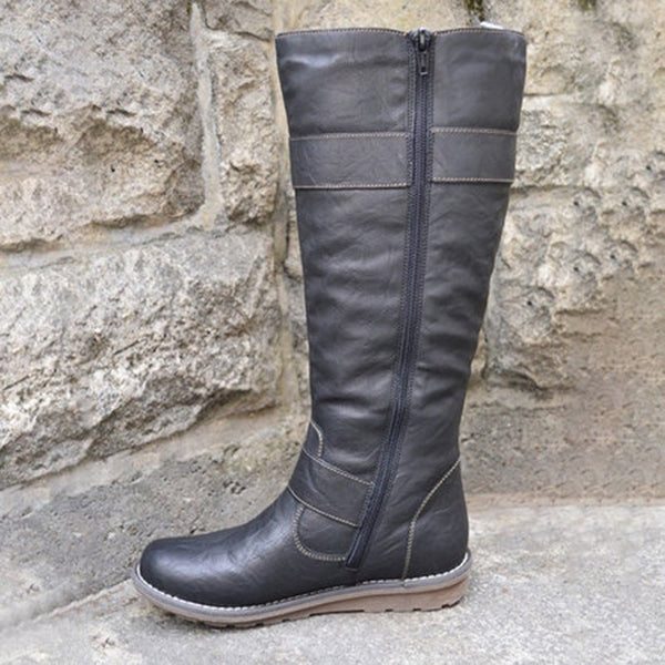 Women's casual buckle zipper boots
