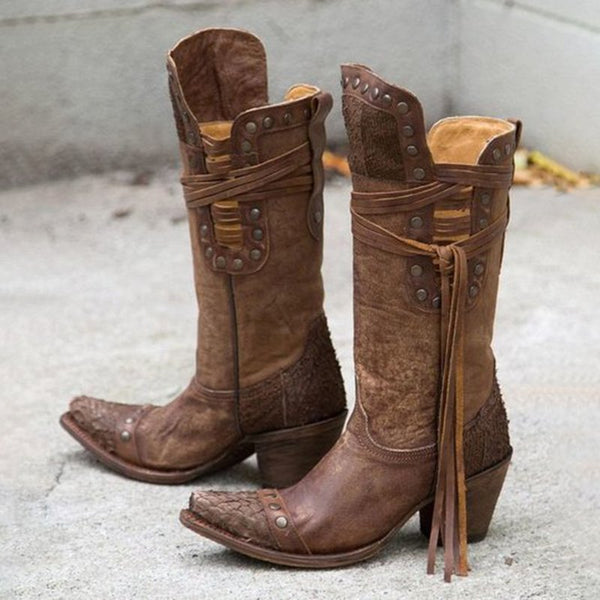 Brown Pecos Boots Fringe Boots Mid Calf Boots Studded Western Booties Low Chunky Heel Vegan Leather Shoes