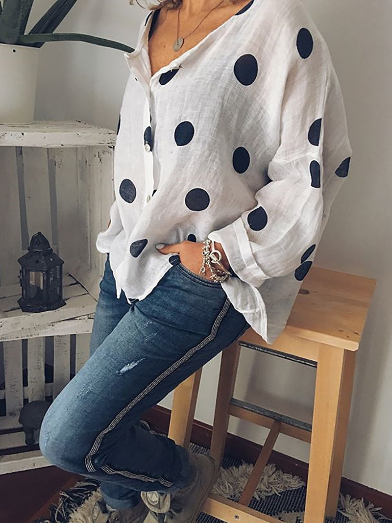 Polka Dots Casual Long Sleeve Blouse & Shirt