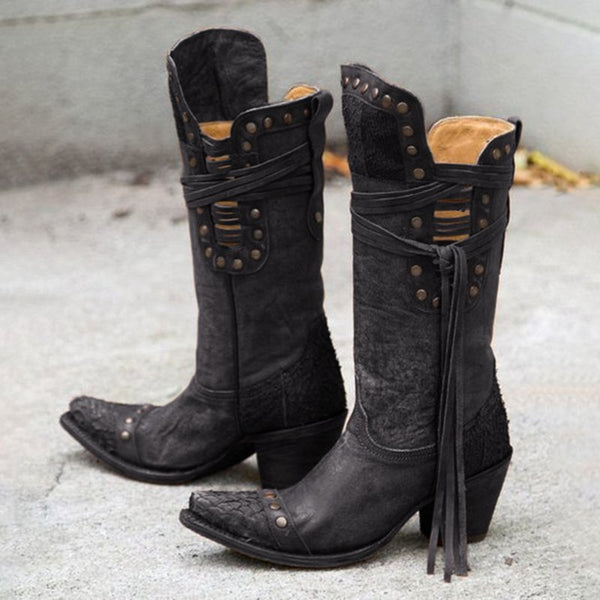 Black Pecos Boots Fringe Boots Mid Calf Boots Studded Western Booties Low Chunky Heel Vegan Leather Shoes