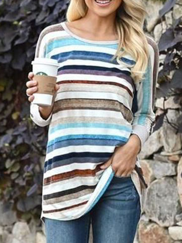 Stripes Crew Neck Sweet Shirts & Tops
