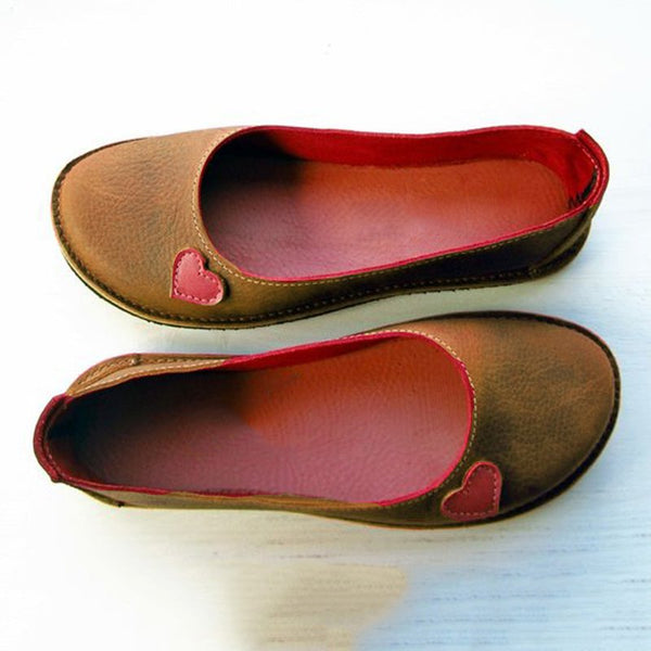Soft Heart Flat Heel Summer Loafers