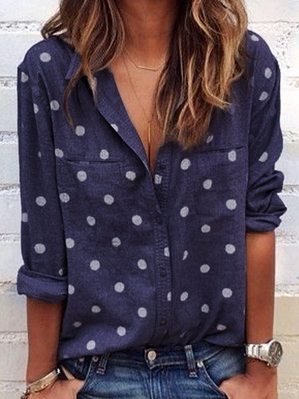 Shirt Collar Long Sleeve Polka Dots Shirts & Tops