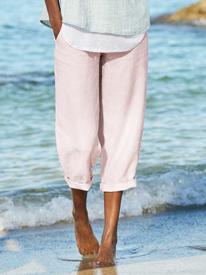 Paneled Linen Casual Pants