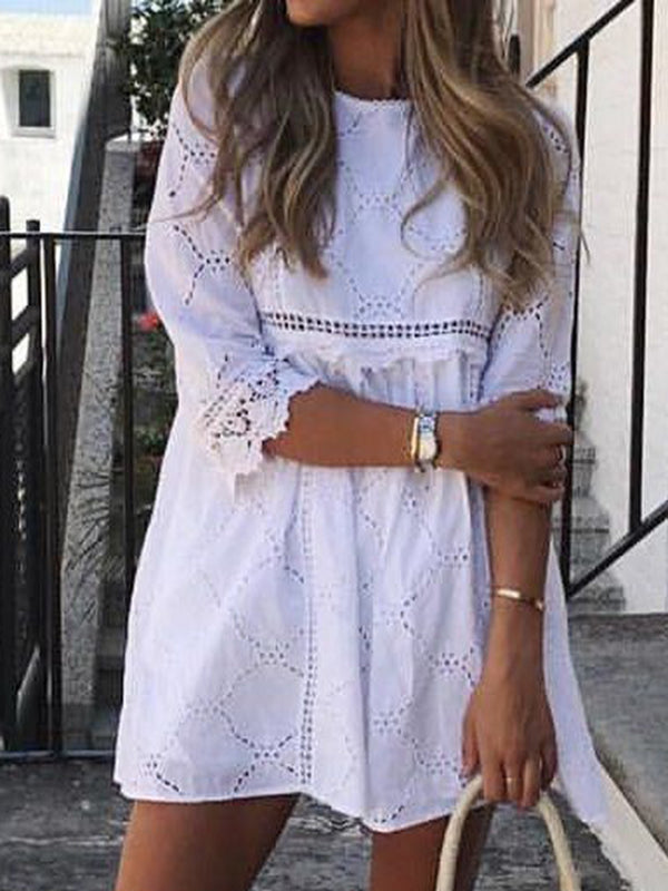 Half Sleeve Crew Neck Vacation Dresses
