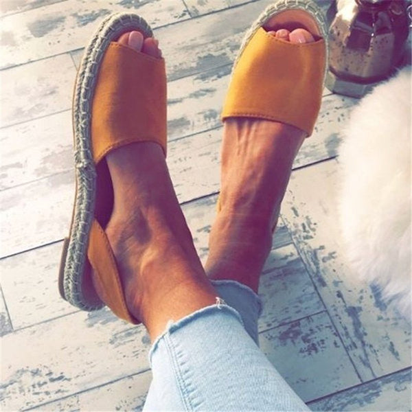 Women Espadrilles Fashion Peep Toe Sandals Flat Sandals