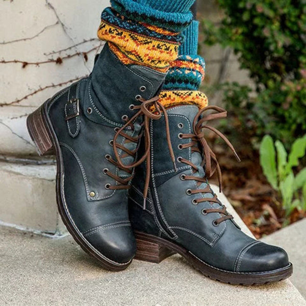 Women's Chic Style Color-block Boots Lace-Up All Season Boots