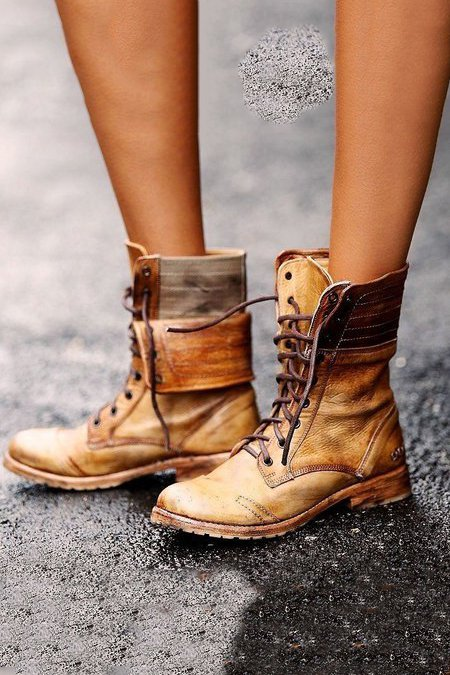 Light Brown Lace Up Work Boots Combat Mid Calf Boots Fold Over Hard Leather Vintage Flat Ankle Boots Fall 2019