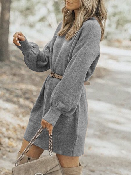 Long Sleeve Solid Knitted Dresses