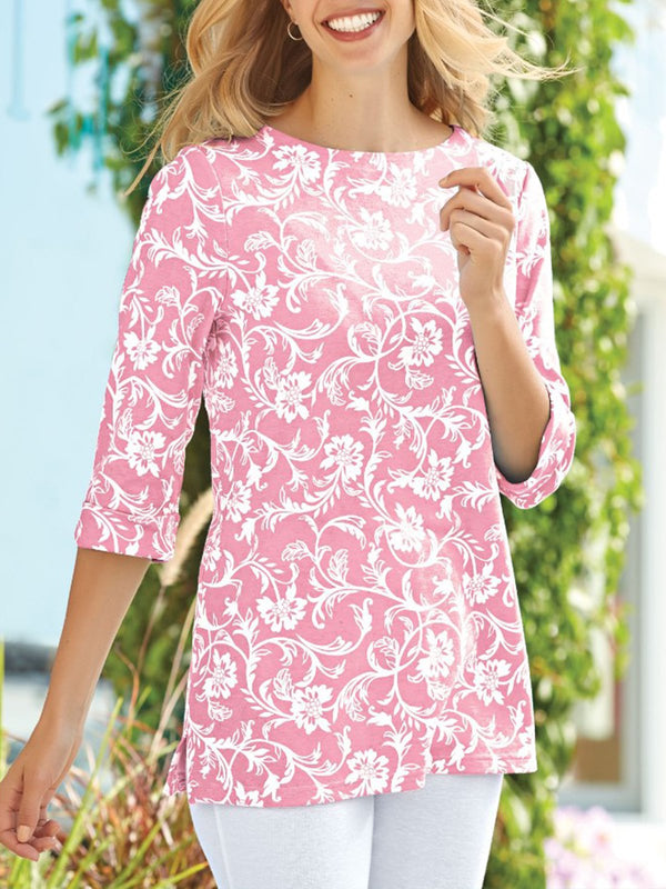 Floral Printed V-neck 3/4 Sleeve Casual Blouse