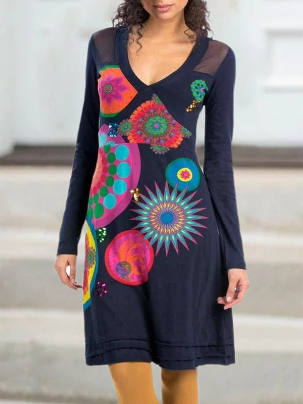 Plus Size Vintage Geometric Printed Long Sleeve Casual Dresses
