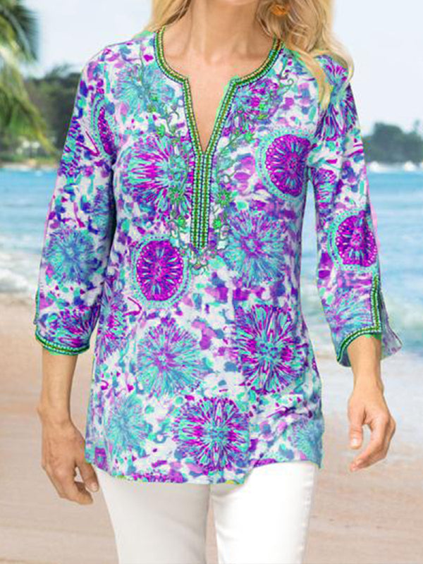 3/4 Sleeve Floral Printed V-Neck Casual Blouse