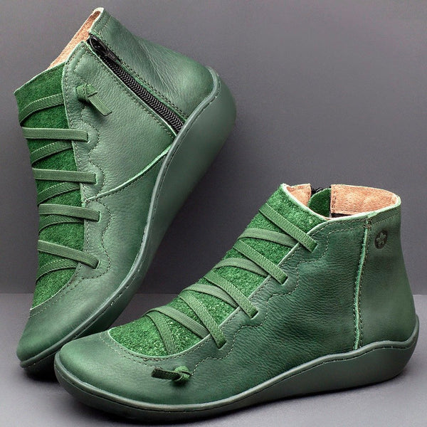 Green Flat Ankle Boots Nappa Soft Leather Comfy Suede Patchwork Zipper Casual Fall 2019 Shoes
