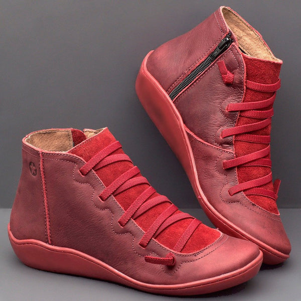 Red Flat Ankle Boots Nappa Soft Leather Comfy Suede Patchwork Zipper Casual Fall 2019 Shoes