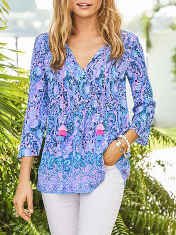 Floral Printed Long Sleeve V-neck Casual Blouse