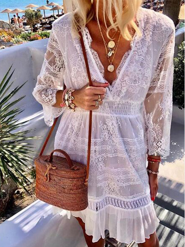White V Neck Boho Dresses