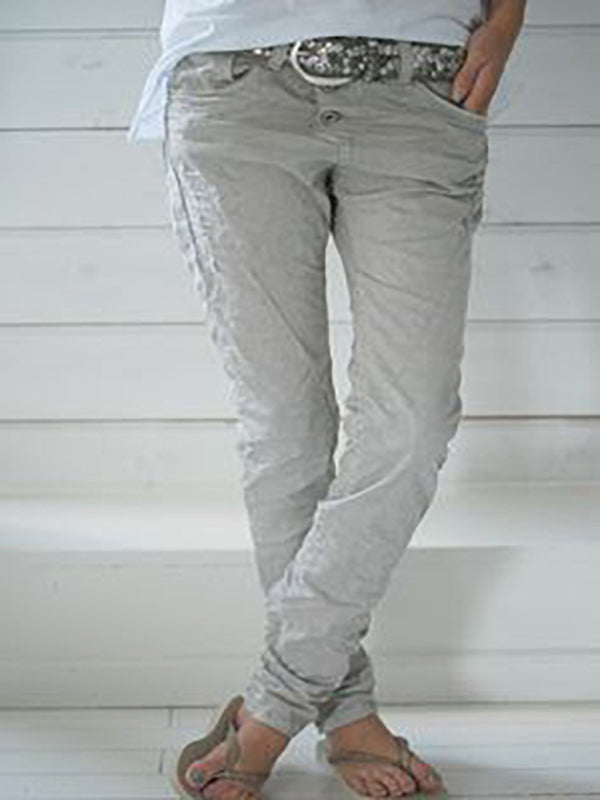 Solid Plain Casual Cotton-Blend Pants