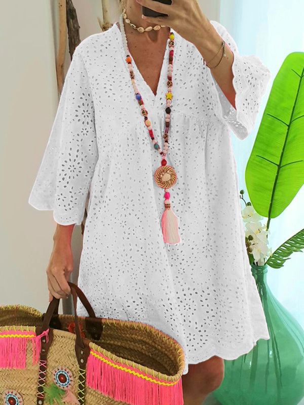 Plus Size Cutout Vacation Beach Women Summer Mini Dress