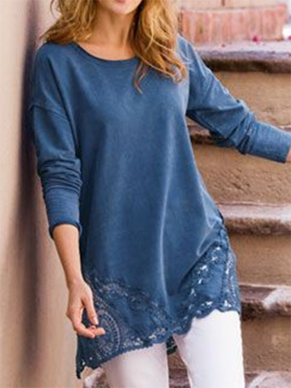 Blue Long Sleeve Cotton Crew Neck Embellished Cutout Tops