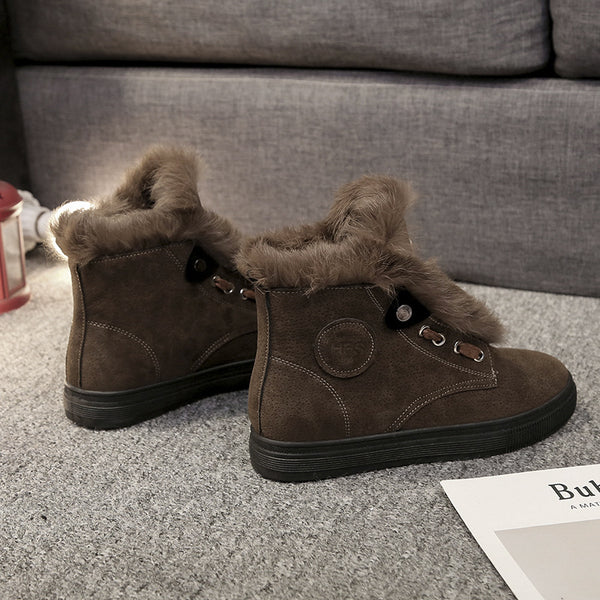 Vintage Round Toe Platform Winter Suede Daily Boots