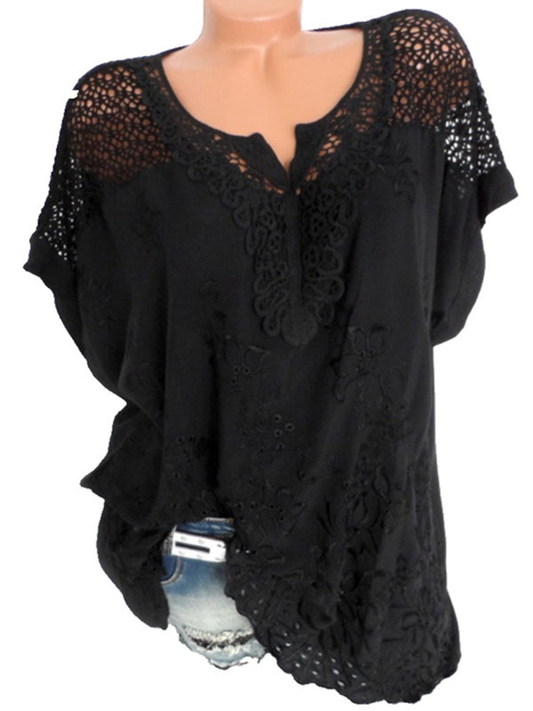 Cutout Paneled Bats Sleeve Plus Size Casual Blouse