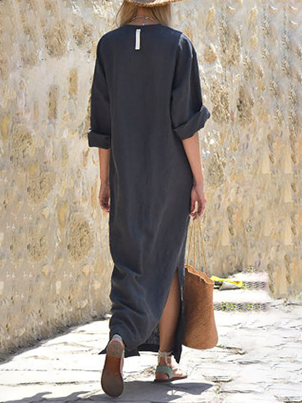 Women Daily Cotton Half Sleeve Slit Summer Dress