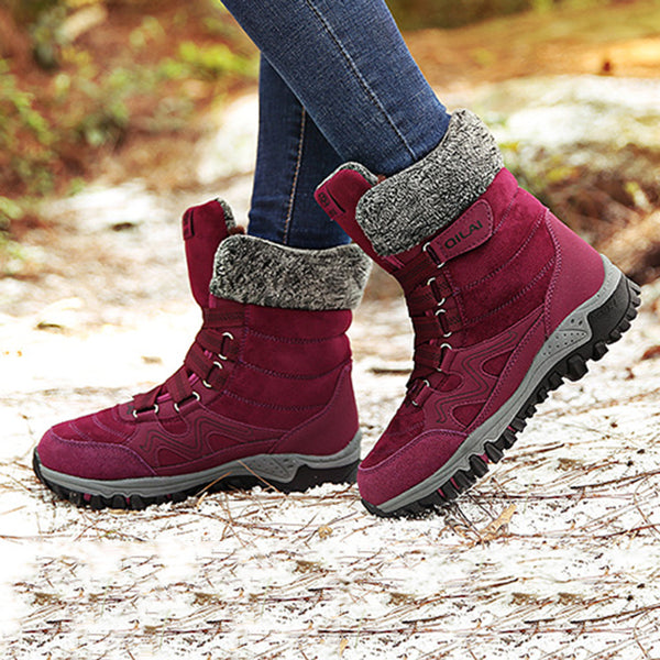Women Plus Size Snow Booties Casual Shoes Artificial Suede Winter Boots