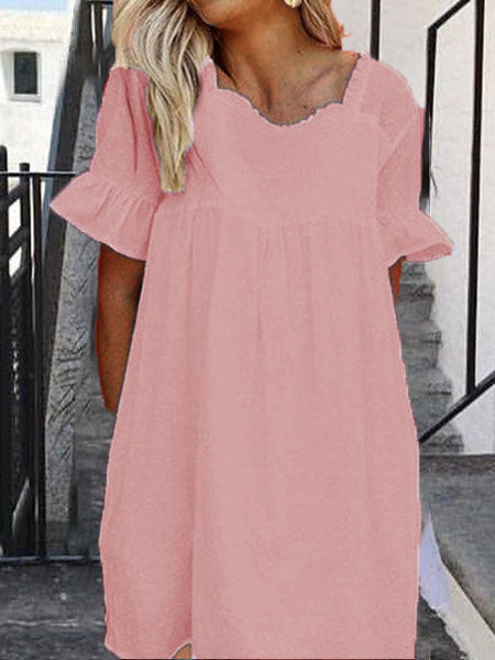 Linen Short Sleeve Vacation Dresses