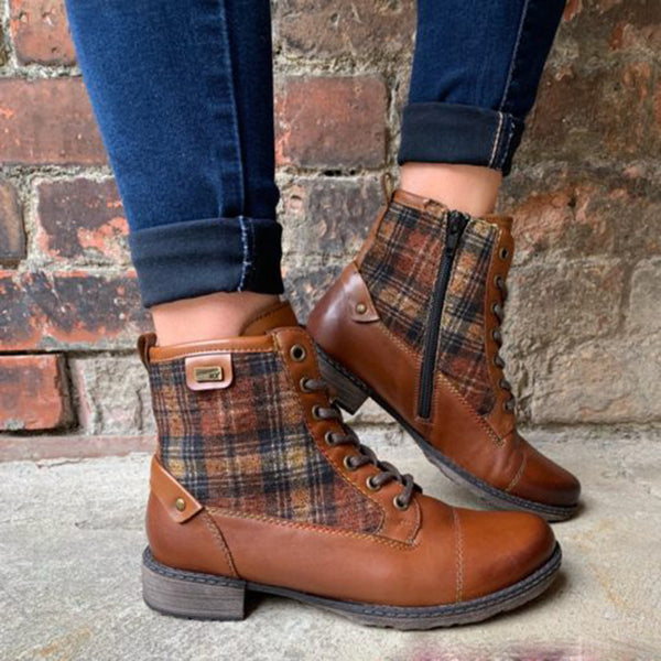 Women's Casual Lace Up Flat Boots