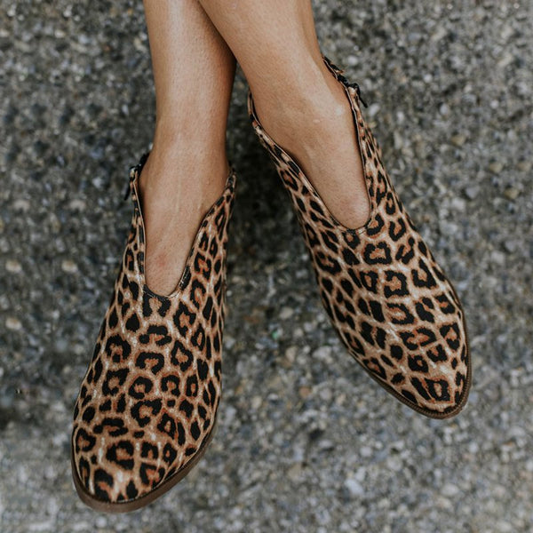 Leopard Suede Ankle Boot Women Western Booties Almond Toe Casual Fashion Short Shoes