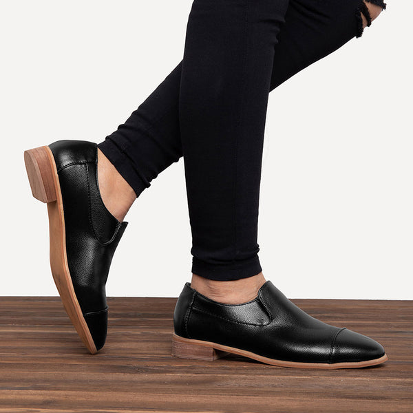 Plus Size Solid Slip On Loafers Casual Low Heel Loafers
