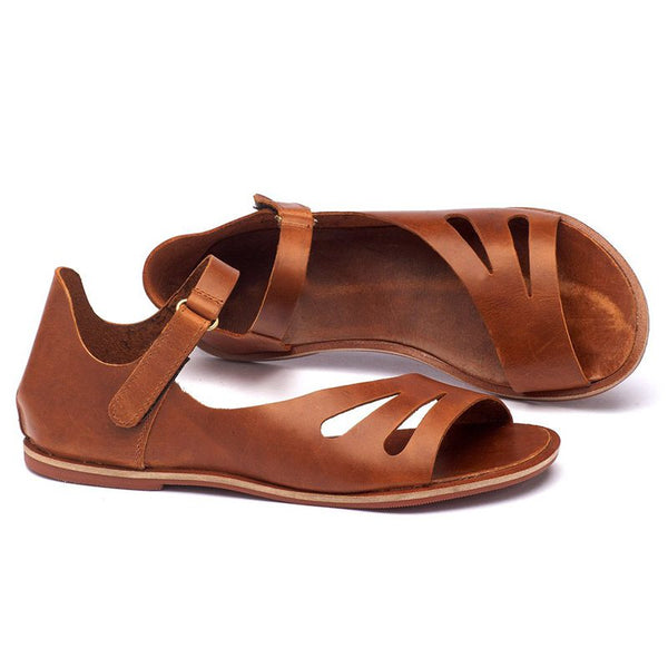 Vintage Tan Flat Sandals Comfy Design Hollow Out Casual Shoes Women Summer Fashion 2019