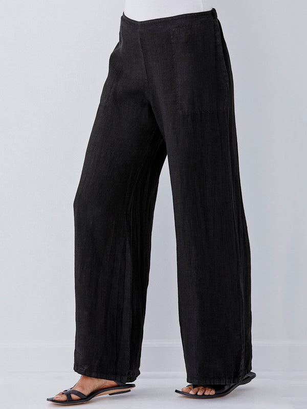 Casual Black Pockets Cotton-Blend Bottoms
