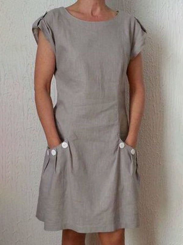 Summer Pockets Buttoned-decor Shift Linen Dresses
