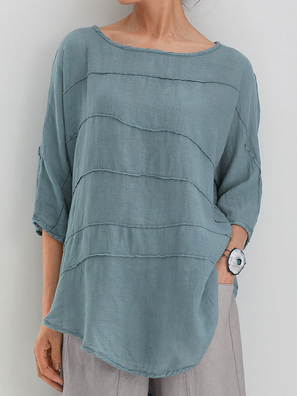 Summer Tops 3/4 Batwing Sleeves Round Neck Solid Blouses