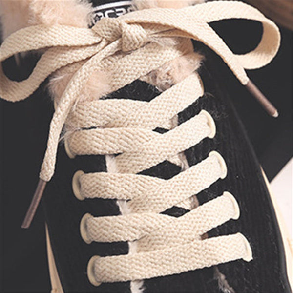 Corduroy Lace-Up Athletic Sneakers Spring/fall Flat Heel Boots