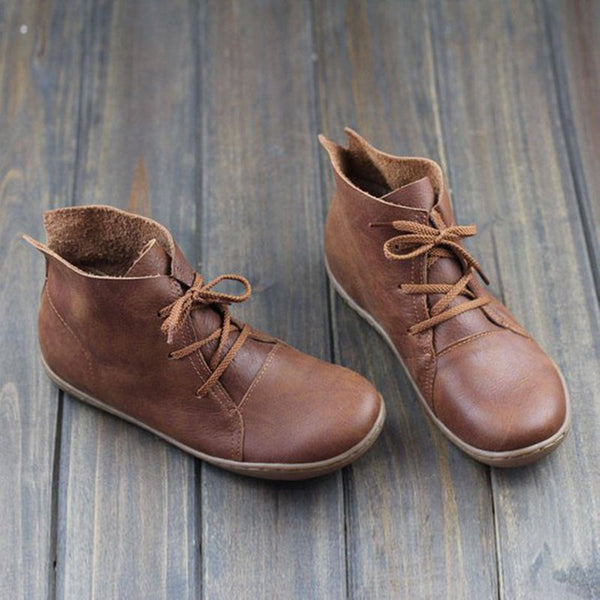 Tan Lace up Flat Ankle Boots Vegan Leather Nappa Soft Comfy Granny Daily Fall 2019 Shoes