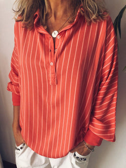 Long Sleeve Casual Stripes Printed Blouses&shirts