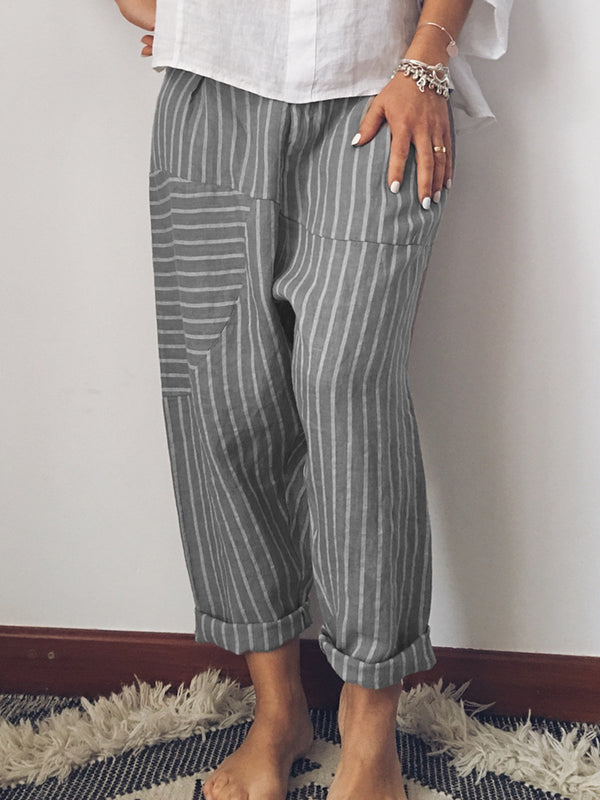 Women Striped Casual Cotton Pants