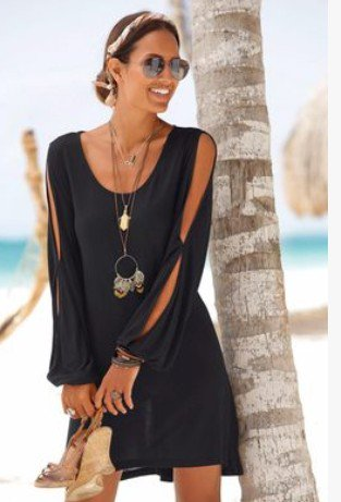 Crew Neck Black Women Summer Dresses Shift Daily Casual Plain Dresses