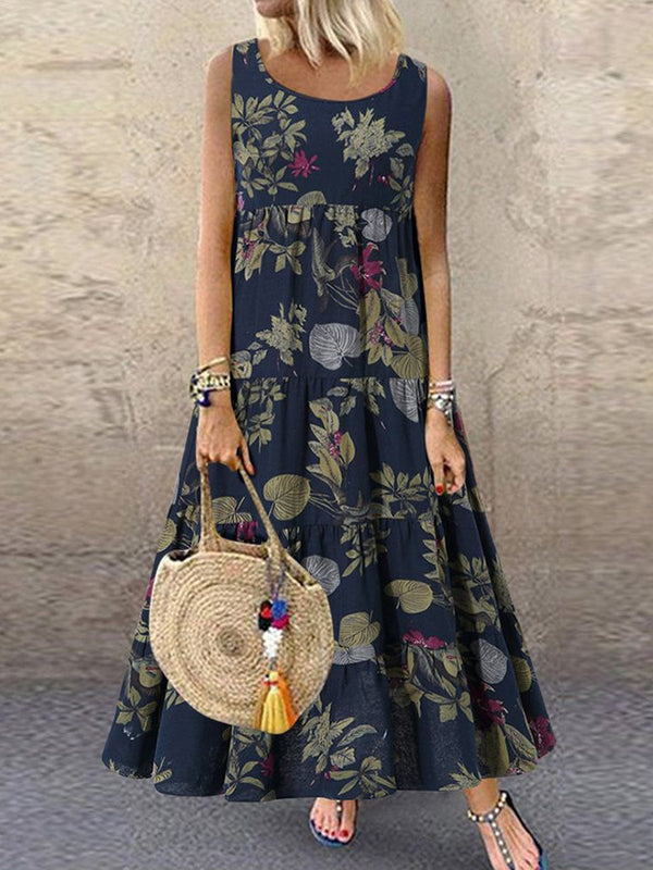 Black Floral Sleeveless Dresses