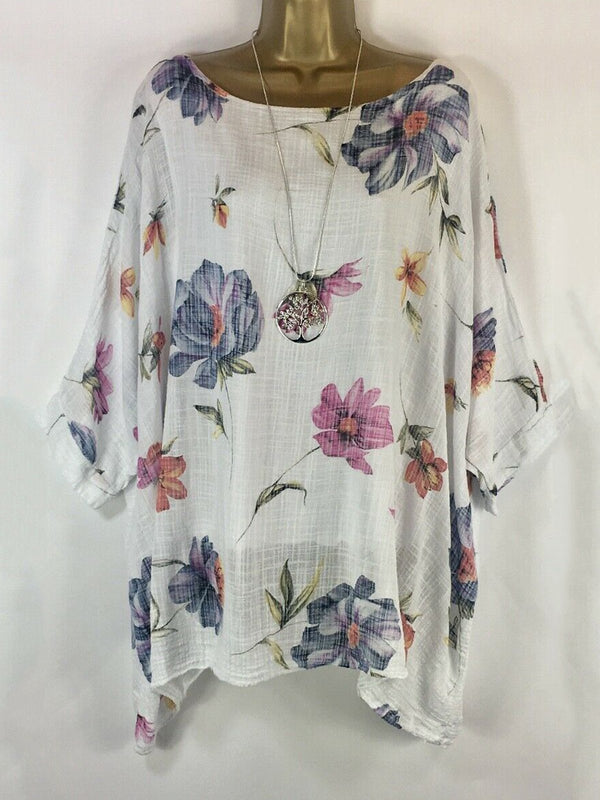 Casual Floral Short Sleeve Crew Neck Blouses