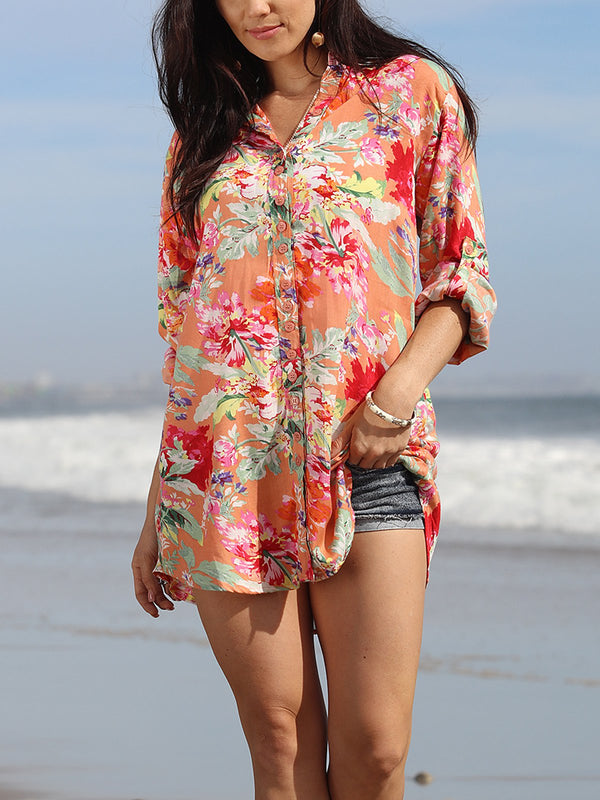 Boho Long Sleeve Floral Blouse