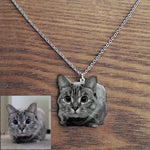 Personalized Cat Photo Engraved Necklace