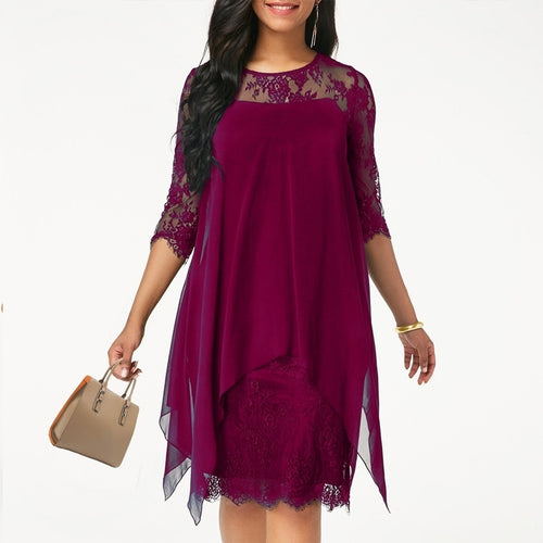 Casual Half Sleeve Elegant Round Neck Lace Dress