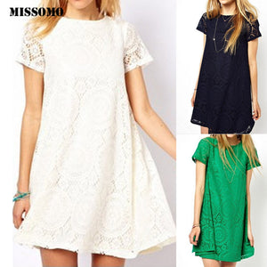 Solid Short Sleeve O-Neck Lace Hollow Dress